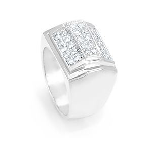 Custom Made Diamond Men's Ring In 14k White Gold, Pave Set Diamond Men's Ring, Men's Jewerly