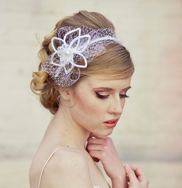 Custom Made Wedding Hair, Satin Flower And Net Wedding Headband