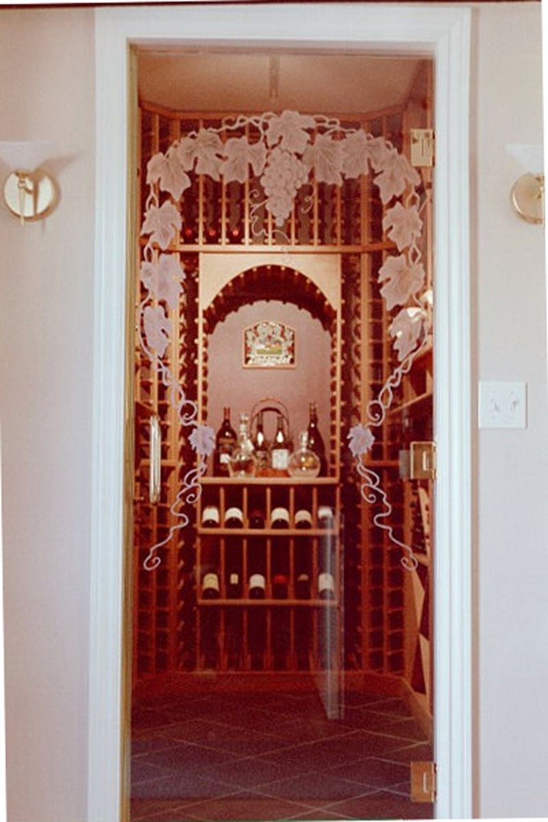 Hand Crafted Etched Glass Wine Cellar Door By Sgo Designer Glass And