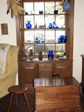 Custom Made Walnut Stool And Handmade Chest, Built-In Window Cabinet