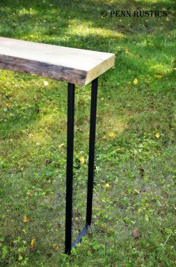 Custom Made Industrial Rustic Live Edge Console Table With Waterfall Feature