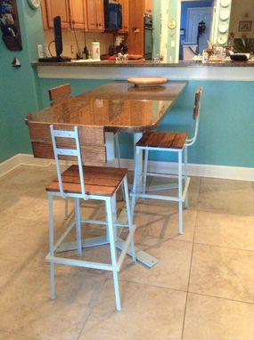 Custom Made The Nantucket Stool With Back - Rough Sawn Oak