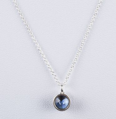 Custom Made Sterling Silver Faceted Blue Sapphire Astrology Pendant Necklace September