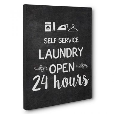 Custom Made 24 Hours Laundry Canvas Wall Art