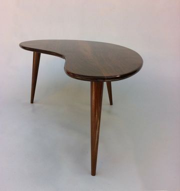 Custom Made Modern Coffee/Cocktail Table-Eames Era Amoeba Design With Tapered Walnut Legs