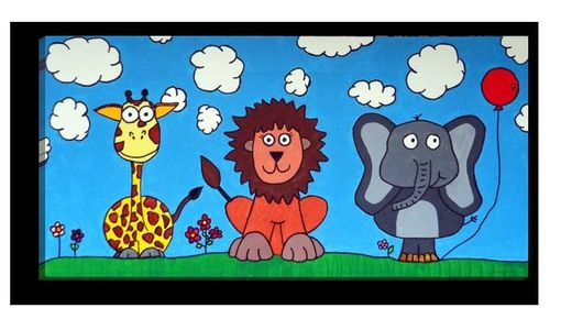 Custom Made Giraffe, Lion, Elephant Trio Painting