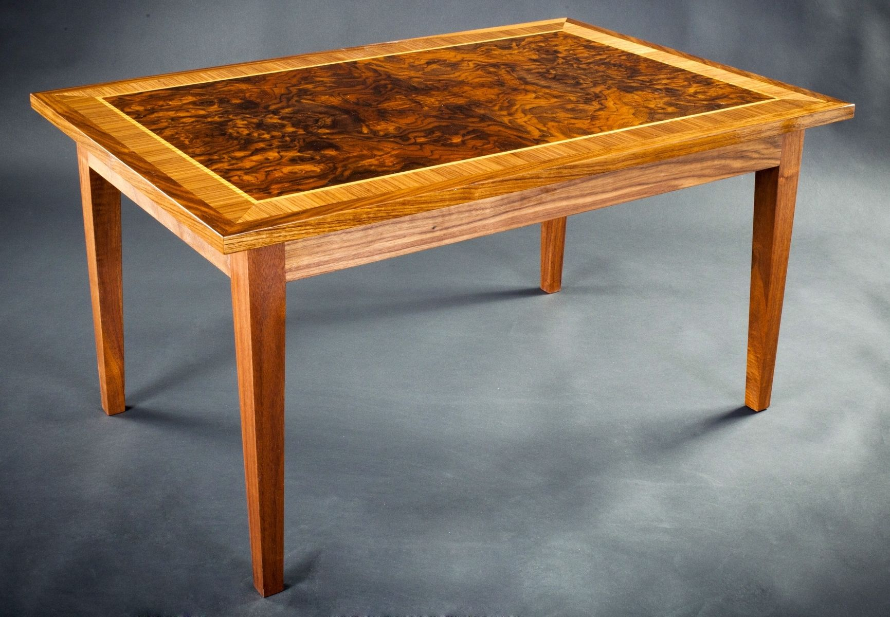 Custom Walnut Burl Coffee Table by E N Curtis Woodworks