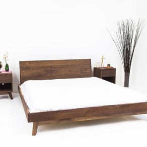 the bosco mid century modern solid walnut bed