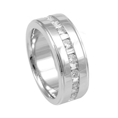 Custom Made 14k Round And Baguette Diamond Band, Men's Diamond Band