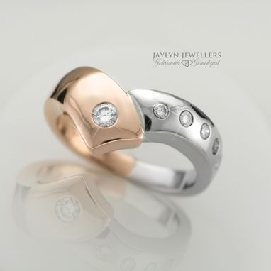 Custom Made White And Rose Gold Crossover Ring
