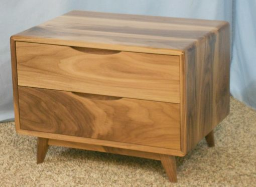 Custom Made 2 Drawer Danish Modern Walnut Nightstand (Item  2d625)