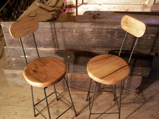 Custom Made Reclaimed Maple Swivel Bar Stools With Rebar Legs And Back Rest