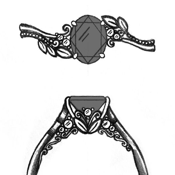 Sketches for a beautiful, nature-inspired ring with the unusual choice of a black center stone.