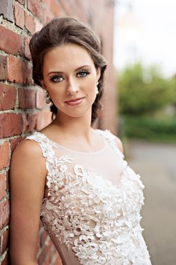 Custom Made Blush Pink Ivory Sheer All Over Lace Wedding Dress (Style #Ashley Pb070)