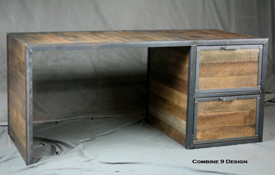 Custom Made Reclaimed Wood Desk With File Cabinet Drawers Steel Office Furniture
