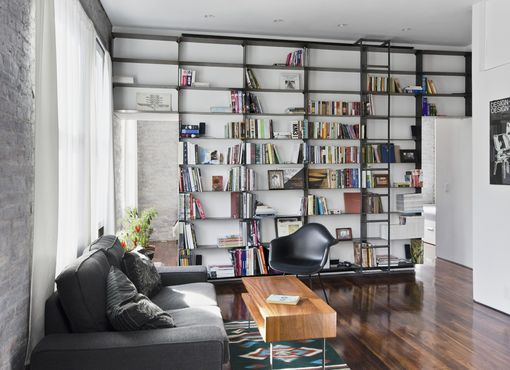 Custom Made Minimal, Blackened-Steel Bookshelves With Rolling Library Ladder