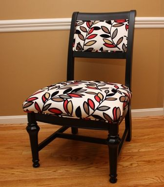 Custom Made Vintage Black Side Chair With Flocked Leaves