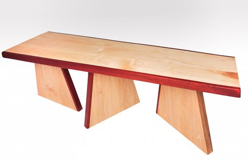 Custom Made Abstract Contemporary Tropical Wood And Maple Bench
