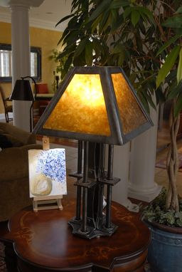Custom Made Custom Iron Table Lamp With Mica Shade