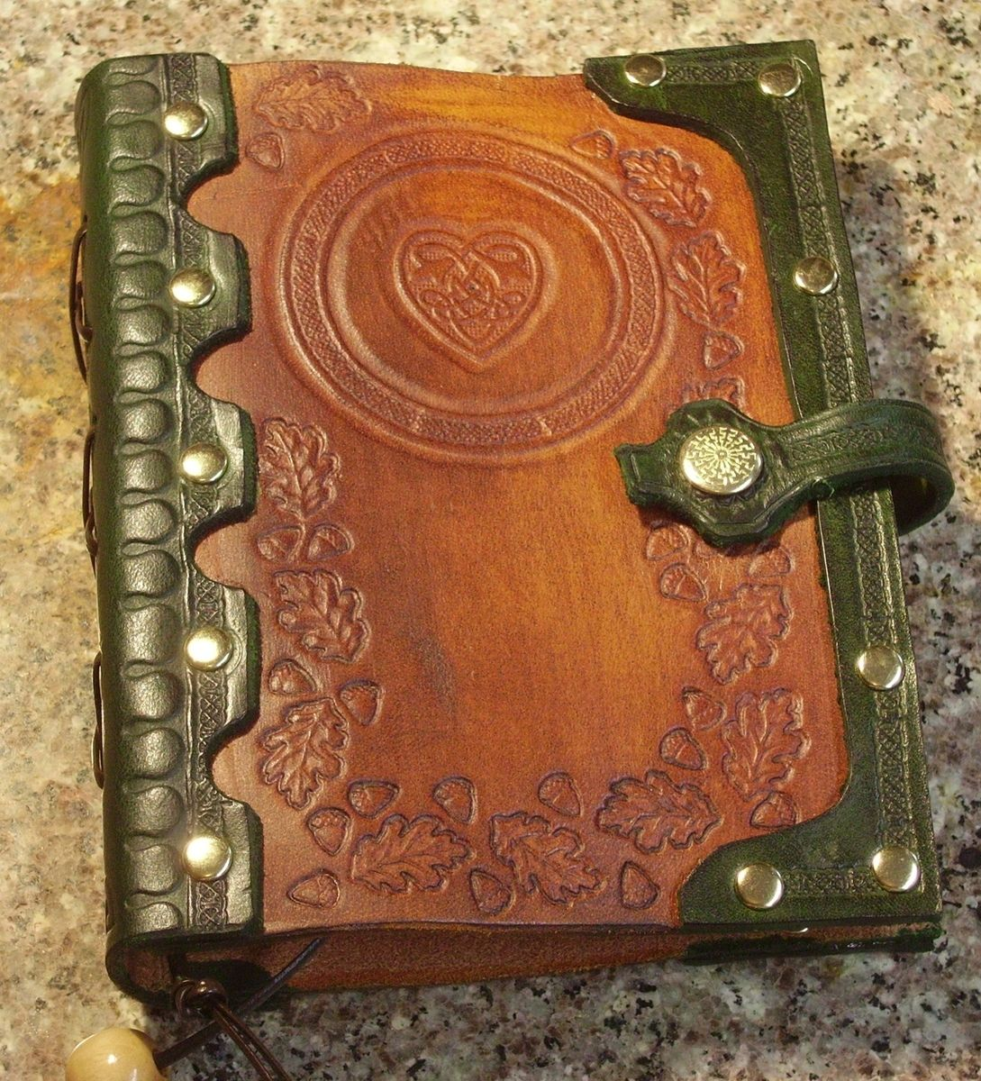 Custom Made Handcrafted Antiqued Green Brown Leather Blank