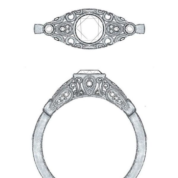 Dense, symmetrical filigree surrounds the center diamond in this sketch for an elegant engagement ring.