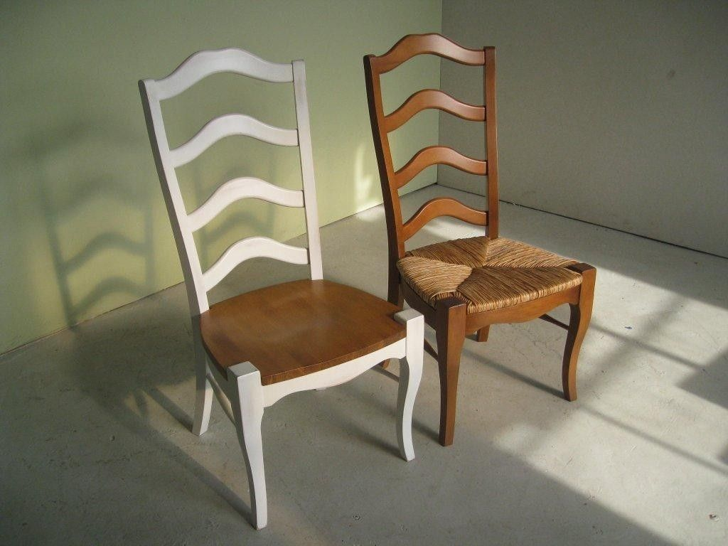 Hand Made White French Ladder Back Dining Room Chairs by ...