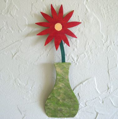 Custom Made Handmade Upcycled Metal Mini Flower Vase Wall Art Sculpture In Green And Red