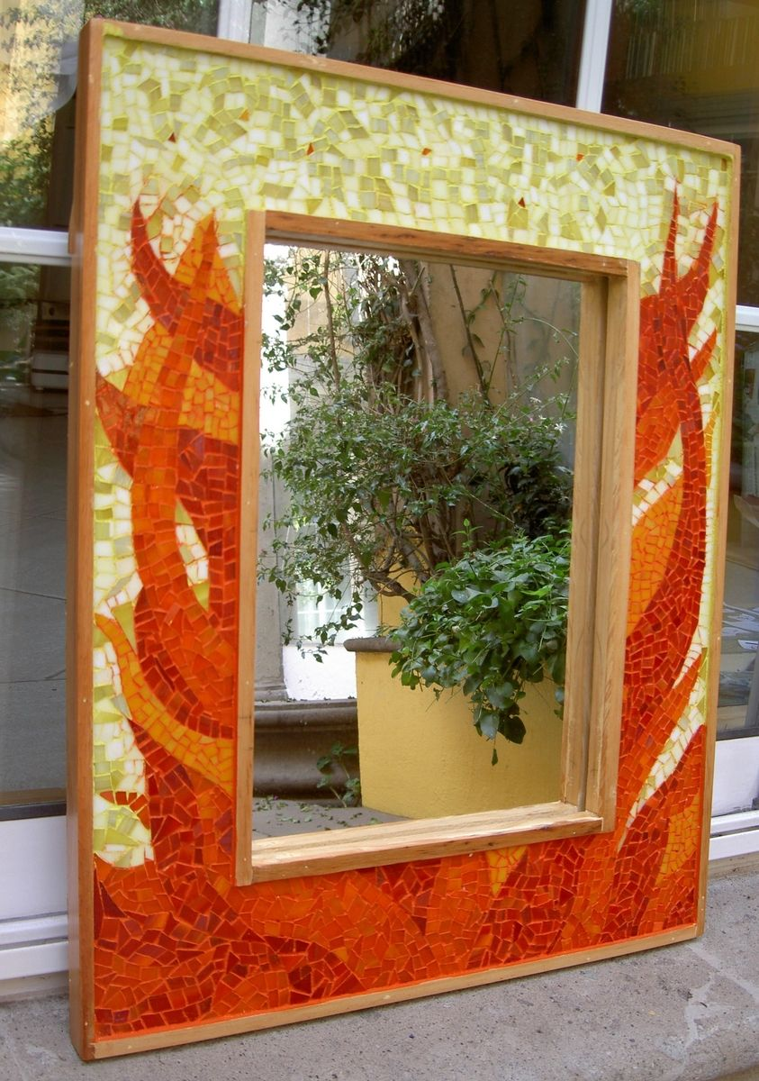Custom Made Wall Decor Mirror In Fire by Aval Glass Art ...