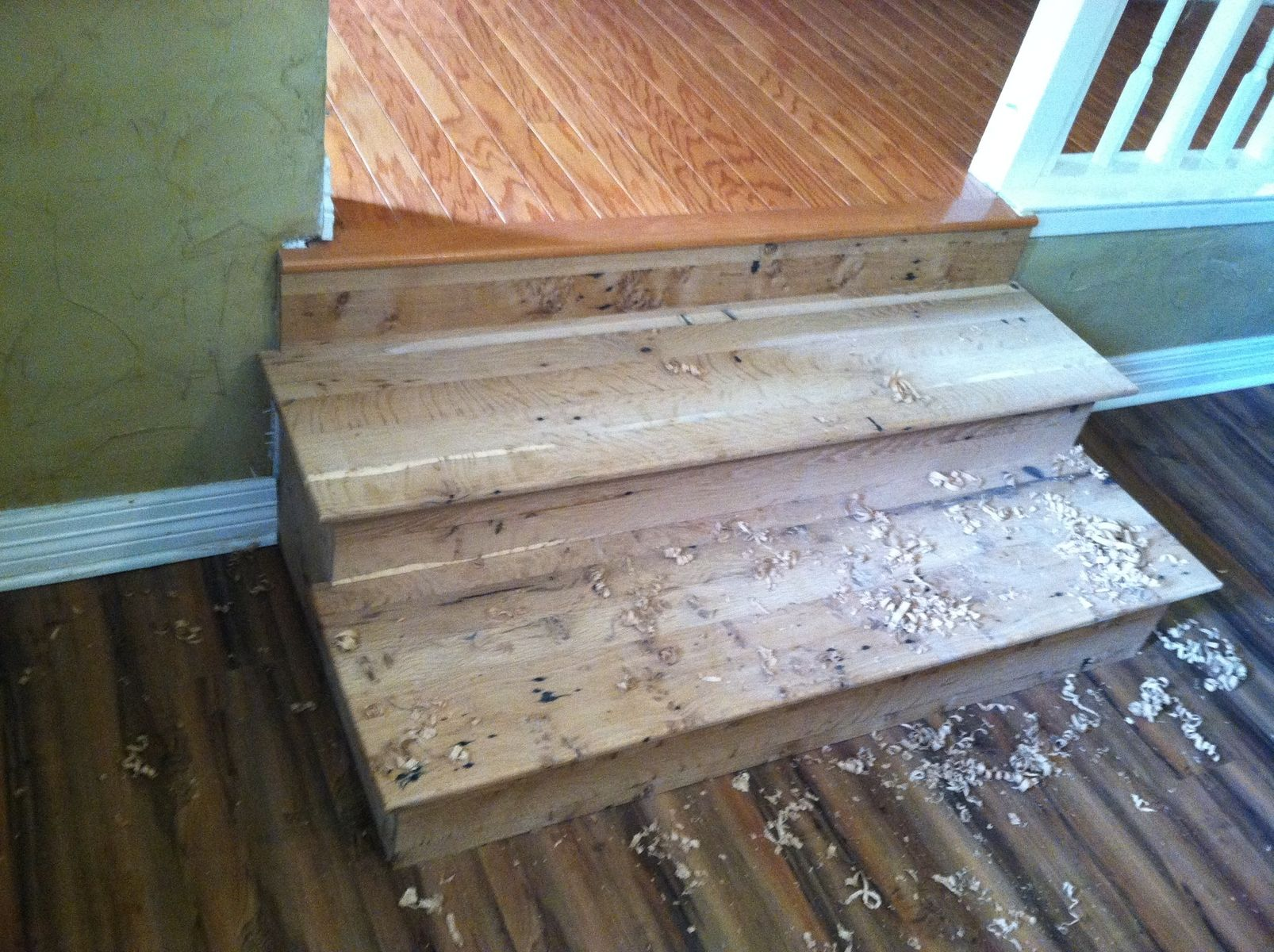 Custom antique oak barn wood stairs by zac divine