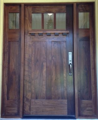 Custom Made Walnut Craftsman Style Entry And Sidelites