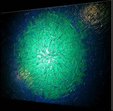 Custom Made Metallic Blue Painting, Abstract Green Textured Painting, Original Palette Knife Art