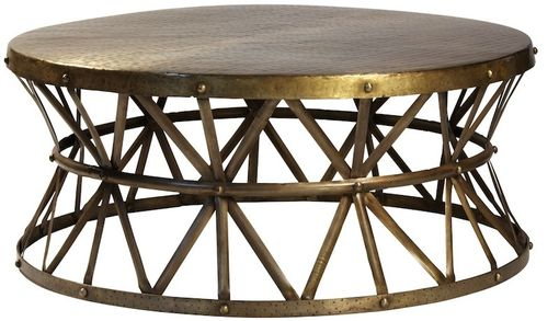 Custom Made Bruce Hammered Steel Round Cocktail Table