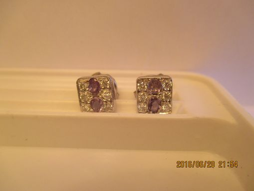 Custom Made Alexandrite Earrings Pave Set With Diamonds In 14k White Gold