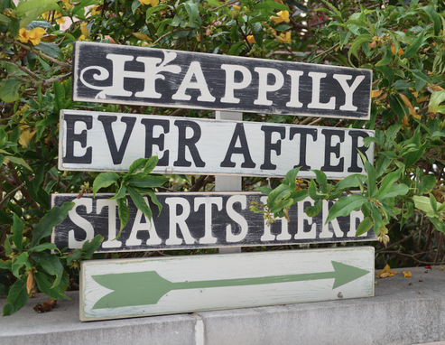 Custom Made Happily Ever After Starts Here Customized Wedding Sign - Shabby Chic Rustic Style - Rustic Wedding