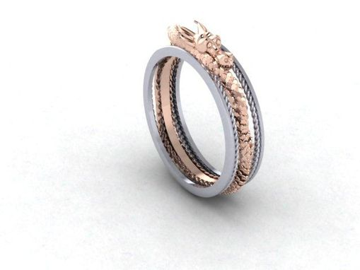 Custom Made Gen'ts Dragon Wedding Band In Rose And White 14kt.