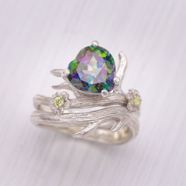 This mystic topaz shows off a striking, unique rainbow of colors, but its surface treatment makes it a bit more delicate for daily wear.