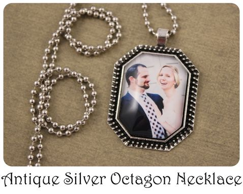 Custom Made Custom Photo Necklace Antique Silver Octagon 22x30 Mm Pendant Personalized Gift