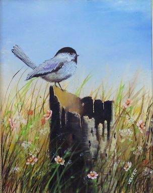 Custom Made Bird Painting, Wildlife Painting: Chickadee On A Tree Stump, Acrylic On Canvas Art For Sale