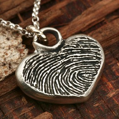 Custom Made Handmade Fingerprint Pendant In Fine Silver