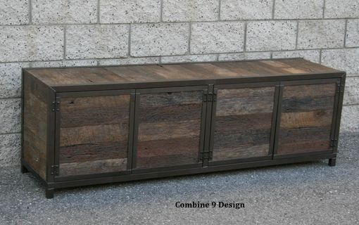 Custom Made Rustic Industrial Media Console/Credenza. Reclaimed Wood. Handmade. Buffet/Hutch.