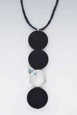 Custom Made Necklace - Sterling Silver, Onyx, Blue Topaz Strung On Black Pyrite And Onyx Beads