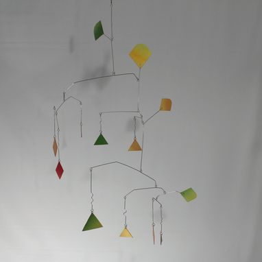 Custom Made Tall Abstract Art Mobile - Alien In Rainbow Hanging Mobile Sculpture