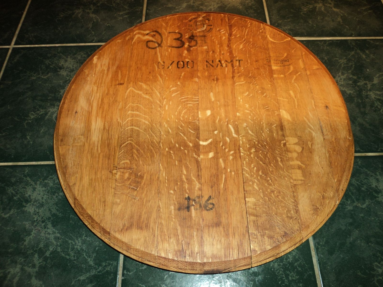 Custom Wine Barrel End Lazy Susan By Sandman Productions