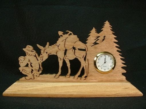 Custom Made Old West Gold Panner With Pack Mule Desk Clock