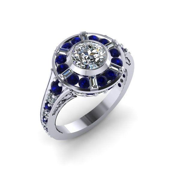 Custom Made R2d2 Inspired Halo Engagement Ring 14 Karat White Gold