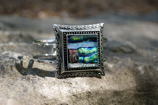 Custom Made Hinged Dichroic Glass Cuff Bracelet
