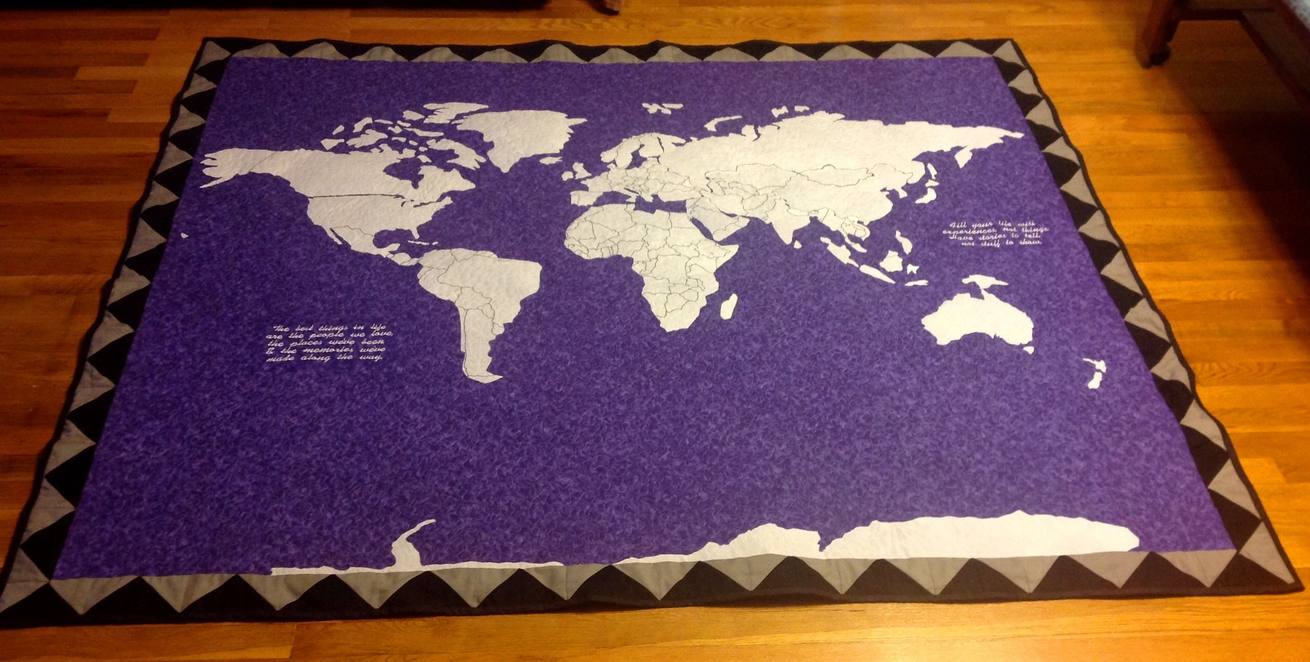 Hand Crafted Custom World Map Adventurer World Explorer Travel Quilt ...