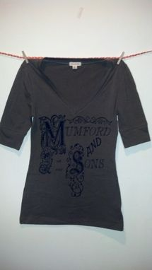 Custom Made Sale Mumford & Sons Inspired Screen Printed Small Olive/Army Green Shirt, Women's Vneck 3/4 Sleeves