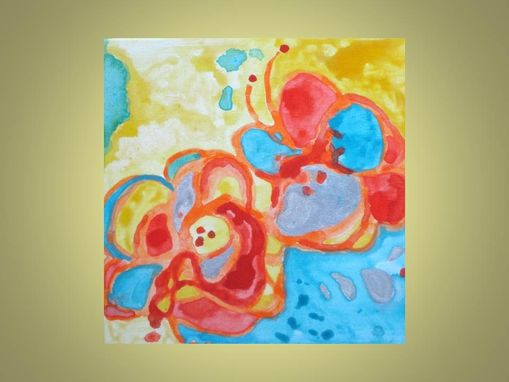 "Custom Made Flowers Painting Original Abstract 10""X10"" Orange Red Blue Silver"