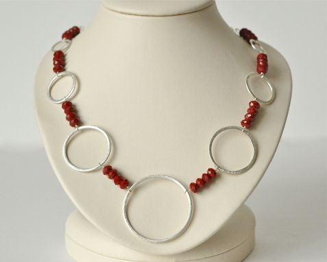 Custom Made Red Agate Necklace - Sterling Silver Statement Necklace